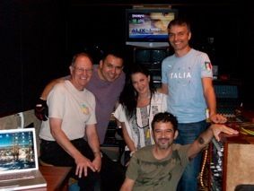 Malcolm Harper, Ruben Robledo, ALIX, Santiago and Fratta in the Reelsound Mobile Audio Truck.