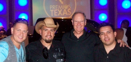 Pictured from left to right - Tejano artists El Guero, Sunny Sauceda, TV audio mixer Malcolm Harper and Premios Texas 2011 producer Ruben Robledo.