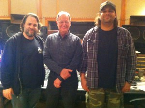 """John """"Lew"""" Lousteau, Malcolm Harper and Nick Raskulinecz together during live mix playbacks from SXSW 2013  """"Sound City Players Session"""" at David Grohl's studio."""