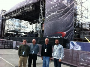 "Reelsound audio crew; Mason Harlow, Malcolm Harper, Greg Klinginsmith and Will Harrison before 2014 NCAA Final Four Pep Rally concert with ""Kid Rock"" in Arlington, TX at the AT&T Stadium."
