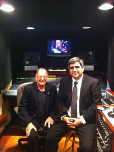 Live recording engineer's Malcolm Harper and Roberto Rincon set to record the Houston Latin Philharmonic Orchestra Concert at the Cullun Theater.