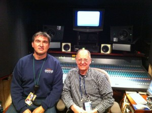"""FOH mixer; Steve Cross and Reelsound Broadcast mixer Malcolm Harper set for 2014 NCAA Final Four concert with """"Kid Rock"""" in Arlington TX."""